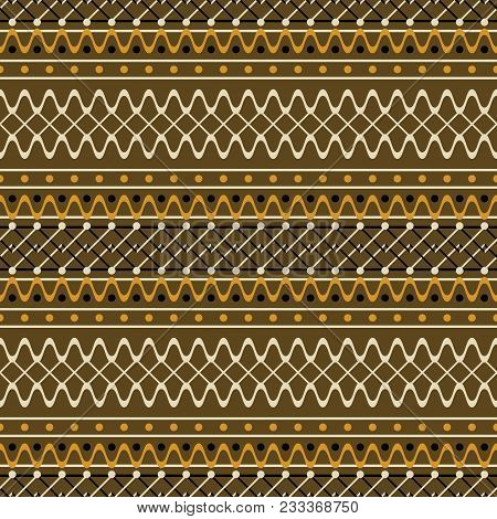 Seamless Geometric Pattern With Wavy And Zigzag Lines. Brown And Orange Colors. Cute Rustic Style