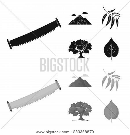 Mountain, Cloud, Tree, Branch, Leaf.forest Set Collection Icons In Black, Monochrom Style Vector Sym