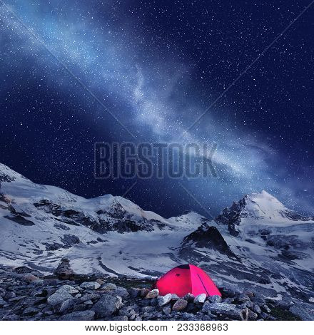 Clear Starry Sky. Winter Mountain Landscape Under Clear Starry Sky.pure Nature Wallpaper Concept