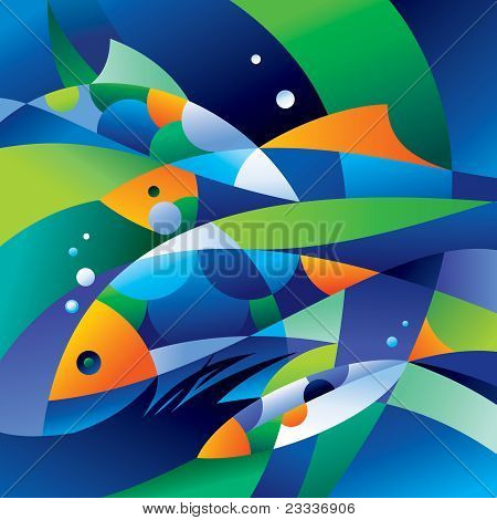 Abstract fishes in the depths of the ocean. Vector illustration. poster