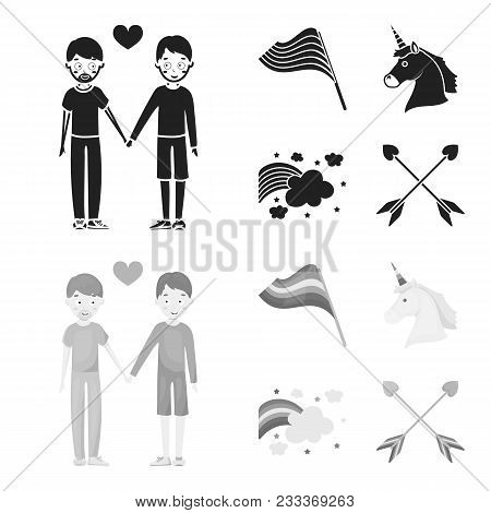 Flag, Unicorn Symbol, Arrows With Heart.gay Set Collection Icons In Black, Monochrom Style Vector Sy