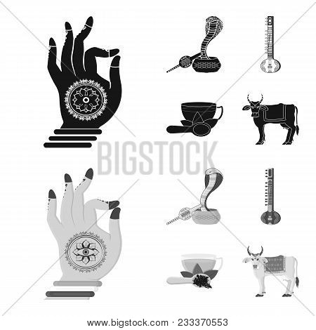 Country India Black, Monochrom Icons In Set Collection For Design.india And Landmark Vector Symbol S