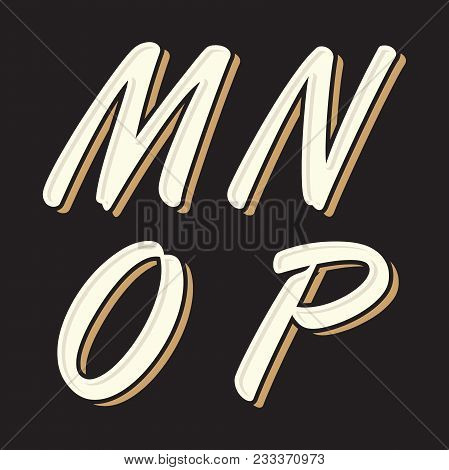 Set Vintage Old Style Letter M N O P Icon With Shadow On The Black Background. Vector Illustration E