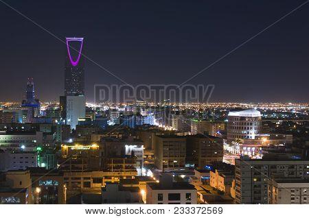 Riyadh Skyline At Night Top View, Saudi Arabia