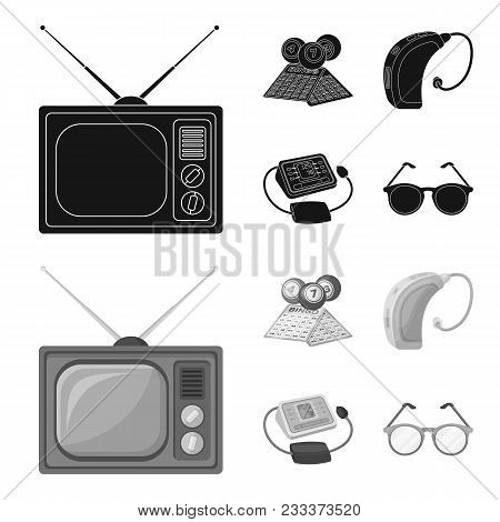 Lottery, Hearing Aid, Tonometer, Glasses.old Age Set Collection Icons In Black, Monochrom Style Vect
