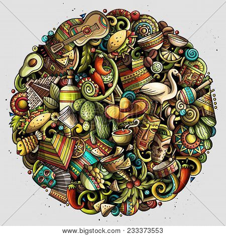 Cartoon Vector Doodles Latin America Round Illustration. Colorful, Detailed, With Lots Of Objects Ba