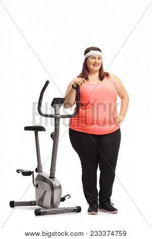 Full length portrait of an overweight woman leaning on a stationary bike isolated on white background poster