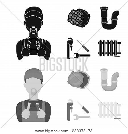 Sewage Hatch, Tool, Radiator.plumbing Set Collection Icons In Black, Monochrom Style Vector Symbol S