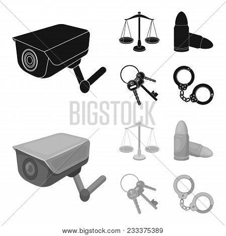Scales Of Justice, Cartridges, A Bunch Of Keys, Handcuffs.prison Set Collection Icons In Black, Mono