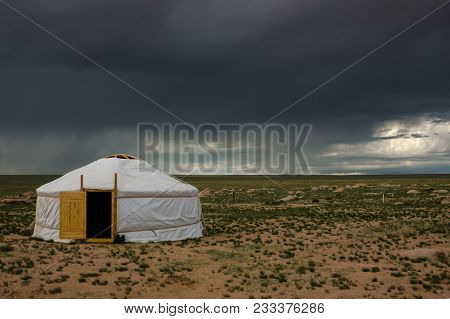 Mongolia Landscape With Nomad Traditional Mongolian Yurt In Mongolia