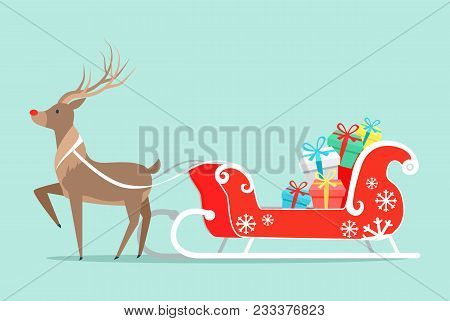Santa Claus Sleigh And Deer Icon Isolated On Light Green Background. Vector Illustration With Reinde
