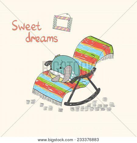 Cartoon Sleeping Owl. Cute Hand Drawn Illustration