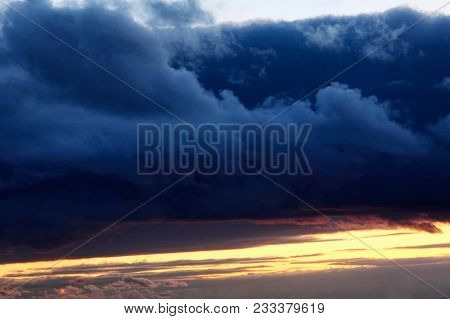 Cloudy Thunderstorm And Sunset Sky.dramatic Cumulus Clouds.abstract Nature Background.dramatic Cumul