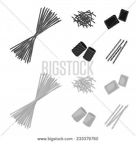 Different Types Of Pasta. Types Of Pasta Set Collection Icons In Black, Monochrom Style Vector Symbo