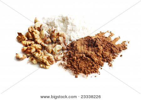 cocoa powder, floor and nuts isolated