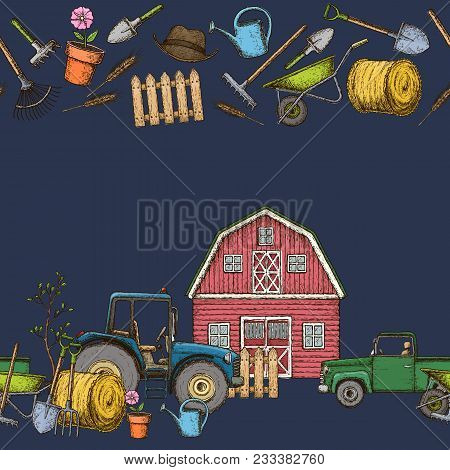Seamless Borders Of Farming Equipment Icons. Farming Tools And Agricultural Machines Decoration, Ske