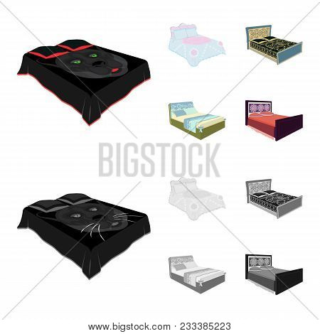 Different Beds Cartoon, Monochrome Icons In Set Collection For Design. Furniture For Sleeping Vector