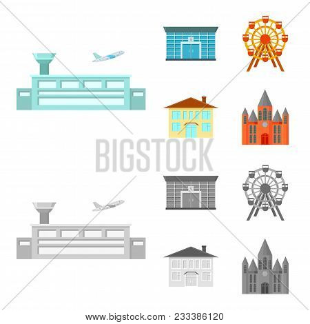 Airport, Bank, Residential Building, Ferris Wheel.building Set Collection Icons In Cartoon, Monochro