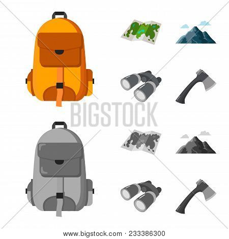 Backpack, Mountains, Map Of The Area, Binoculars. Camping Set Collection Icons In Cartoon, Monochrom