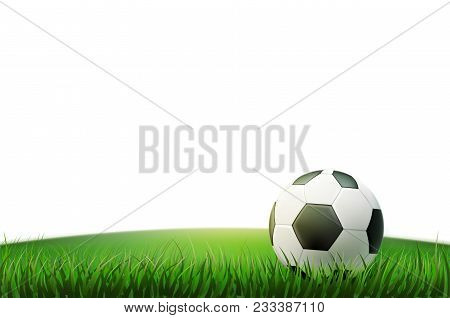 Soccer Ball, Realistic Football Ball On Stadium Grass Field. 3d Sport Equipment For Team Game. Spher