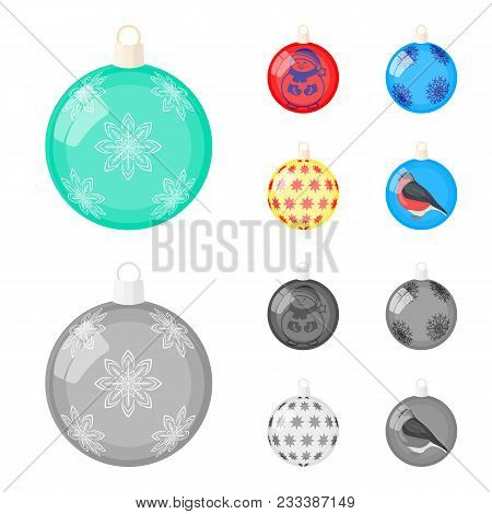 New Year's Toys Cartoon,monochrome Icons In Set Collection For Design.christmas Balls For A Treevect