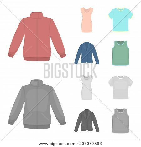 A Mans Jacket, A Tunic, A T-shirt, A Business Suit. Clothes Set Collection Icons In Cartoon, Monochr