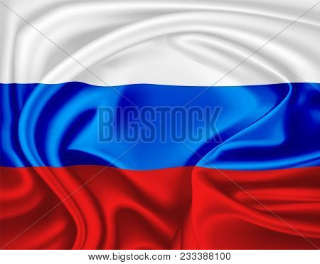 Russian Flag. White Blue Red Color Russia Homeland National State Symbol, Independence Symbol Realis