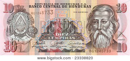 10 Lempira Bill Of Honduras