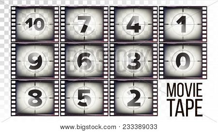 Film Countdown Numbers 10 - 0 Vector. Monochrome Brown Grunge Film Strip. Elements Of Cinema. Start