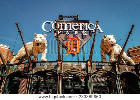 Detroit, Michigan, Usa - March 20, 2018: Exterior Of Comerica Park Home To The Detroit Tigers. The B