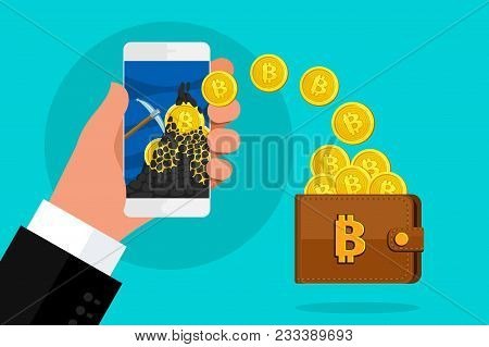 Concept Of Cryptocurrency. Mining To Find Bitcoins And Earning Cryptocurrency. Bitcoin On The Smartp