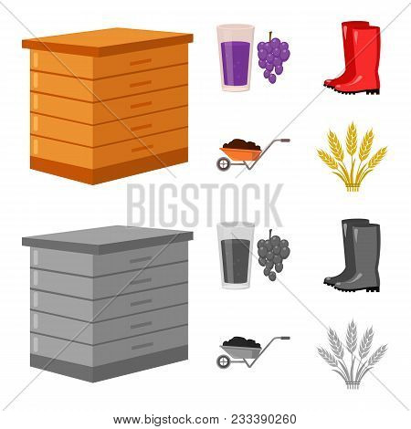Hive, Grapes, Boots, Wheelbarrow.farm Set Collection Icons In Cartoon, Monochrome Style Vector Symbo