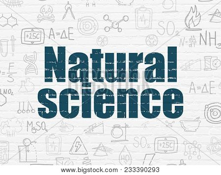 Science Concept: Painted Blue Text Natural Science On White Brick Wall Background With  Hand Drawn S