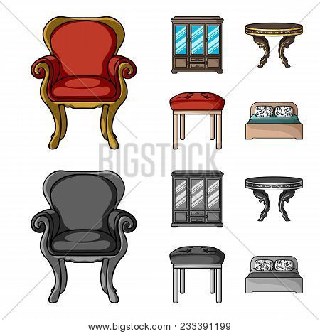 Furniture, Interior, Design, Chair .furniture And Home Interiorset Collection Icons In Cartoon, Mono
