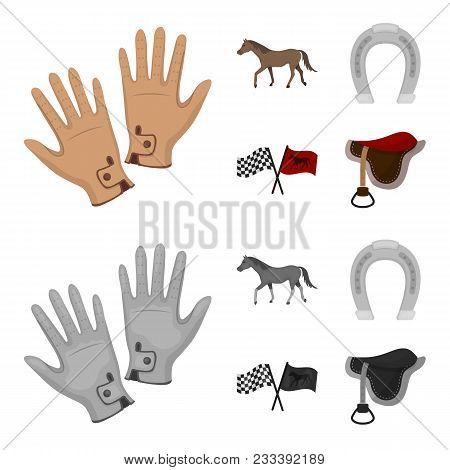Race, Track, Horse, Animal .hippodrome And Horse Set Collection Icons In Cartoon, Monochrome Style V