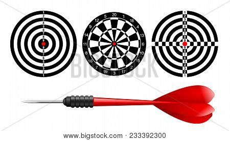 Classic Dart Board Target Set And Darts Red Arrow Isolated On White Background. Vector Illustration.