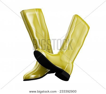 Yellow Boots On White 3d Illustration  Equipment, Clothing, Protection, Boots, Walking,