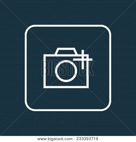 Photographing Icon Line Symbol. Premium Quality Isolated Add A Photo Element In Trendy Style.