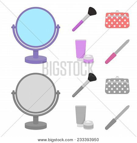 Table Mirror, Cosmetic Bag, Face Brush, Body Cream.makeup Set Collection Icons In Cartoon, Monochrom