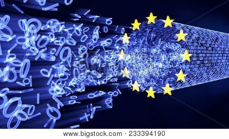 European Union Data Protection (GDPR) bits and bytes in glowing stream with EU stars. 3D illustration poster