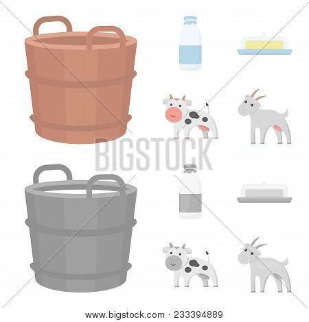A Barrel Of Milk, Butter, A Cow. Milk Set Collection Icons In Cartoon, Monochrome Style Vector Symbo