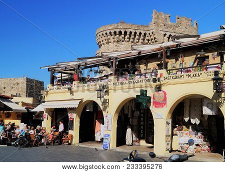 Rhodes, Greece - November 1, 2016: The Greek Restaurant Plaka In The Old Town Section Of Rhodes, Gre