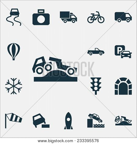 Shipment Icons Set With Control, Parking, Pickup And Other Airship Elements. Isolated  Illustration