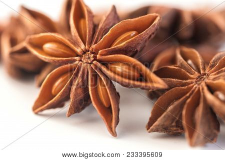 Close-up Stars Anise Anis Group White Background