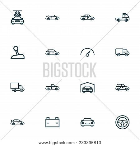Auto Icons Line Style Set With Prime-mover, Speedometer, Car And Other Car Elements. Isolated  Illus
