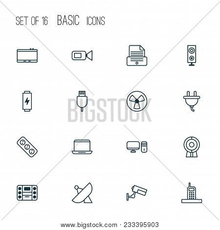 Hardware Icons Set With Phone, Web Cam, Usb Cable And Other Notebook Elements. Isolated  Illustratio