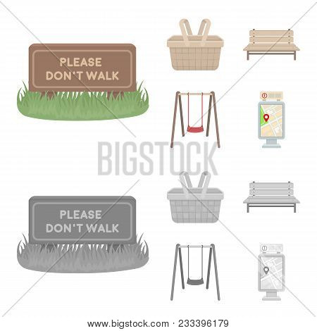 Lawn With A Sign, A Basket With Food, A Bench, A Swing. Park Set Collection Icons In Cartoon, Monoch