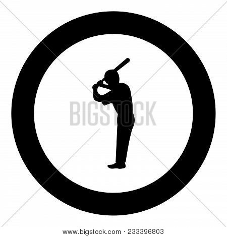 Ballplayer  Icon Black Color In Circle Or Round Vector Illustration