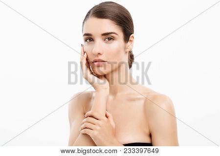 Beauty Skin Care Concept - Beautiful Caucasian Woman Face Portrait. Beautiful Beauty Young Female Mo