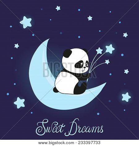 Cute Little Panda Bear On The Moon. Sweet Dreams Vector Illustration For Kids.